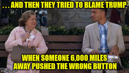 I'm Not The Smartest Man In The World, But Are There Really People Dumber Than Me | . . . AND THEN THEY TRIED TO BLAME TRUMP WHEN SOMEONE 6,000 MILES AWAY PUSHED THE WRONG BUTTON | image tagged in forrest gump,memes,hawaii,missile test,what if i told you | made w/ Imgflip meme maker