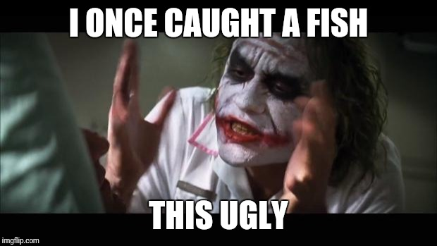 And everybody loses their minds Meme | I ONCE CAUGHT A FISH THIS UGLY | image tagged in memes,and everybody loses their minds | made w/ Imgflip meme maker