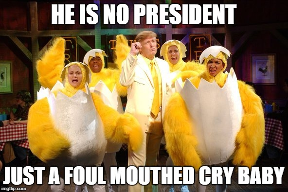 Chicken Trump | HE IS NO PRESIDENT JUST A FOUL MOUTHED CRY BABY | image tagged in chicken trump | made w/ Imgflip meme maker
