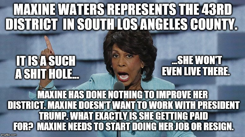 MAXINE WATERS REPRESENTS THE 43RD DISTRICT  IN SOUTH LOS ANGELES COUNTY. MAXINE HAS DONE NOTHING TO IMPROVE HER DISTRICT. MAXINE DOESN'T WAN | image tagged in shit hole,maxine waters | made w/ Imgflip meme maker