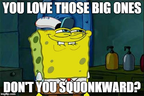 Dont You Squidward Meme | YOU LOVE THOSE BIG ONES DON'T YOU SQUONKWARD? | image tagged in memes,dont you squidward | made w/ Imgflip meme maker