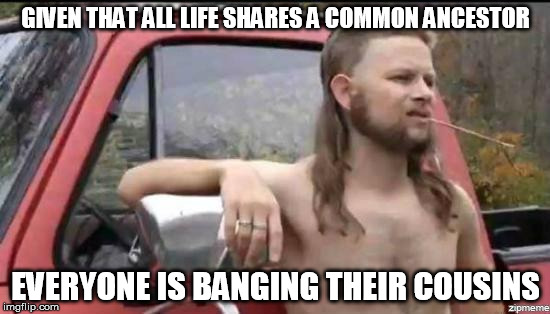 You're a good man, Charlie Darwin | GIVEN THAT ALL LIFE SHARES A COMMON ANCESTOR EVERYONE IS BANGING THEIR COUSINS | image tagged in almost politically correct redneck,cousin,redneck,inbred,science,evolution | made w/ Imgflip meme maker