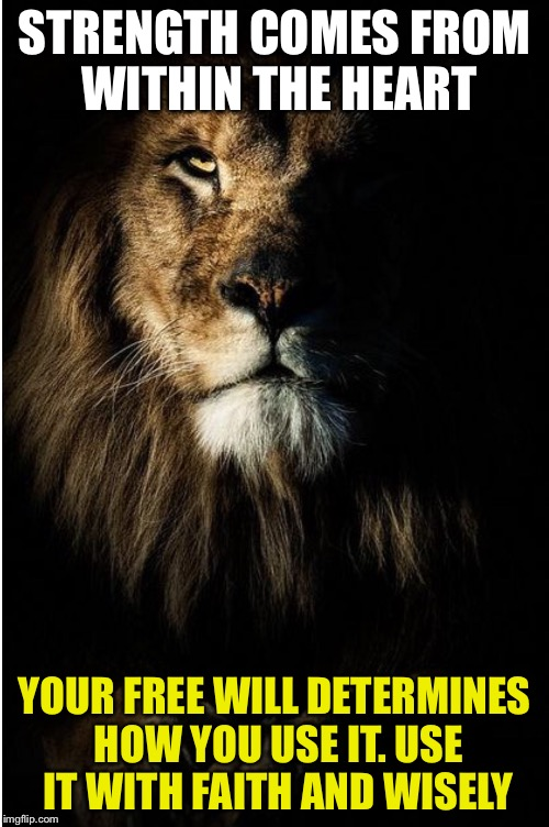 STRENGTH COMES FROM WITHIN THE HEART YOUR FREE WILL DETERMINES HOW YOU USE IT. USE IT WITH FAITH AND WISELY | image tagged in faith | made w/ Imgflip meme maker