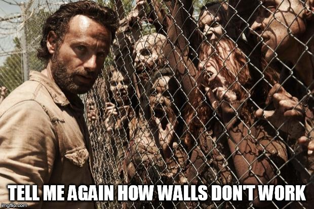 Immigration | TELL ME AGAIN HOW WALLS DON'T WORK | image tagged in zombies,build a wall | made w/ Imgflip meme maker