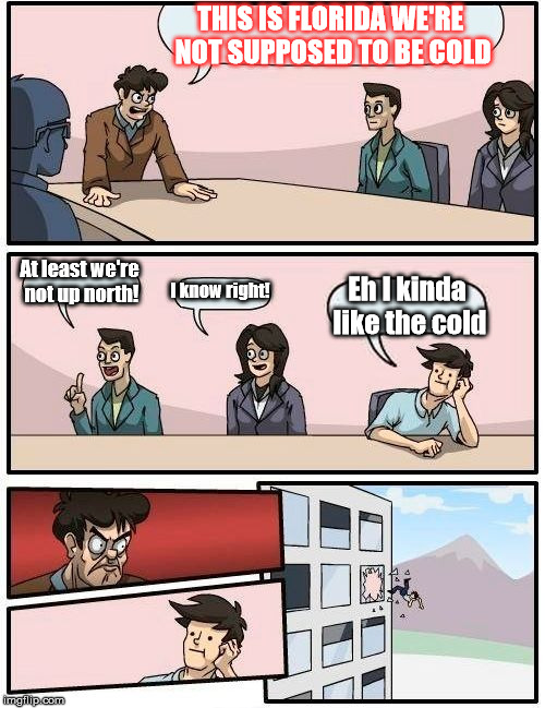 Florida really hates the cold. | THIS IS FLORIDA WE'RE NOT SUPPOSED TO BE COLD At least we're not up north! I know right! Eh I kinda like the cold | image tagged in memes,boardroom meeting suggestion | made w/ Imgflip meme maker