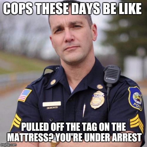 Cop | COPS THESE DAYS BE LIKE PULLED OFF THE TAG ON THE MATTRESS? YOU'RE UNDER ARREST | image tagged in cop | made w/ Imgflip meme maker