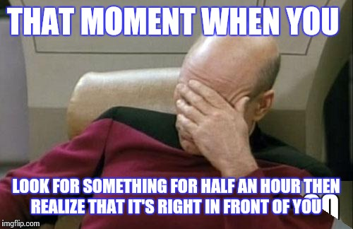 Captain Picard Facepalm Meme | THAT MOMENT WHEN YOU LOOK FOR SOMETHING FOR HALF AN HOUR THEN REALIZE THAT IT'S RIGHT IN FRONT OF YOU | image tagged in memes,captain picard facepalm | made w/ Imgflip meme maker