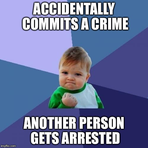 Success Kid Meme | ACCIDENTALLY COMMITS A CRIME ANOTHER PERSON GETS ARRESTED | image tagged in memes,success kid | made w/ Imgflip meme maker