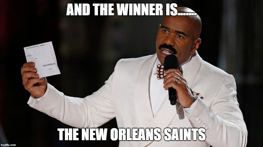 AND THE WINNER IS....... THE NEW ORLEANS SAINTS | image tagged in saints lose vikings | made w/ Imgflip meme maker
