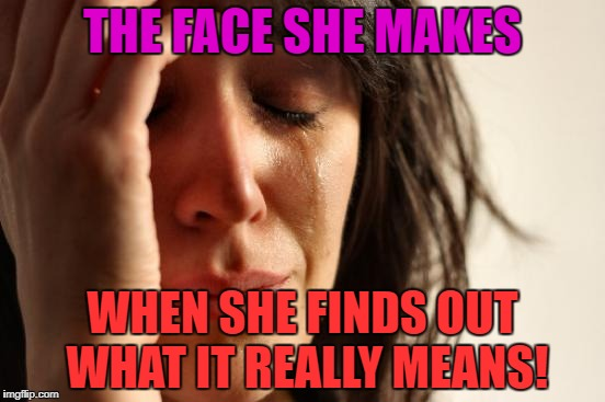 First World Problems Meme | THE FACE SHE MAKES WHEN SHE FINDS OUT WHAT IT REALLY MEANS! | image tagged in memes,first world problems | made w/ Imgflip meme maker