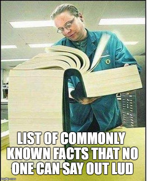 big book | LIST OF COMMONLY KNOWN FACTS THAT NO ONE CAN SAY OUT LUD | image tagged in big book,memes | made w/ Imgflip meme maker