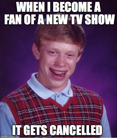 Some short lived TV shows aren't bad at all | WHEN I BECOME A FAN OF A NEW TV SHOW IT GETS CANCELLED | image tagged in memes,bad luck brian,funny,funny memes,too funny,tv show | made w/ Imgflip meme maker