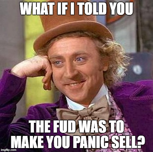 Creepy Condescending Wonka Meme | WHAT IF I TOLD YOU THE FUD WAS TO MAKE YOU PANIC SELL? | image tagged in memes,creepy condescending wonka | made w/ Imgflip meme maker