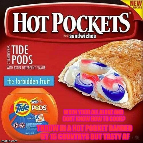 WHEN YOUR ALL ALONE AND DONT KNOW HOW TO COOK? THROW IN A HOT PODKET BANNED BY 16 COUNTRYS BUT TASTY AF | image tagged in tide pods | made w/ Imgflip meme maker
