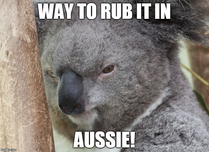 WAY TO RUB IT IN AUSSIE! | made w/ Imgflip meme maker