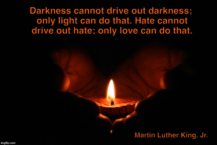 Only love  | Darkness cannot drive out darkness; only light can do that. Hate cannot drive out hate; only love can do that. Martin Luther King, Jr. | image tagged in mlk jr | made w/ Imgflip meme maker
