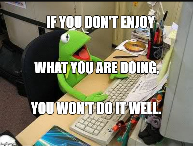 Rene Frog at Work | IF YOU DON'T ENJOY YOU WON'T DO IT WELL. WHAT YOU ARE DOING, | image tagged in rene frog at work | made w/ Imgflip meme maker