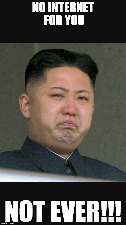 kim jun un gross | NO INTERNET FOR YOU NOT EVER!!! | image tagged in kim jun un gross | made w/ Imgflip meme maker