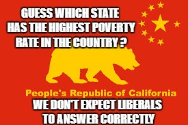 Guess which state has the highest poverty rate in the country ? | GUESS WHICH STATE HAS THE HIGHEST POVERTY RATE IN THE COUNTRY ? WE DON'T EXPECT LIBERALS TO ANSWER CORRECTLY | image tagged in california,hotel california,moonbeam land,hotel sanctuary,funny memes | made w/ Imgflip meme maker