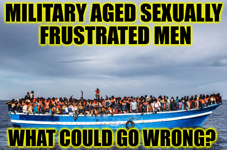 MILITARY AGED SEXUALLY FRUSTRATED MEN WHAT COULD GO WRONG? | image tagged in refugees,rape culture,europe | made w/ Imgflip meme maker