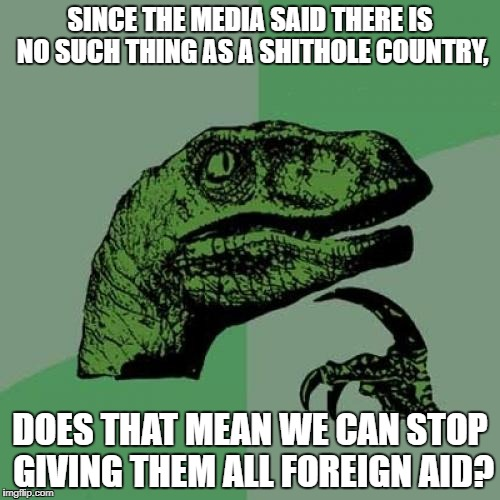 Philosoraptor Meme | SINCE THE MEDIA SAID THERE IS NO SUCH THING AS A SHITHOLE COUNTRY, DOES THAT MEAN WE CAN STOP GIVING THEM ALL FOREIGN AID? | image tagged in memes,philosoraptor | made w/ Imgflip meme maker