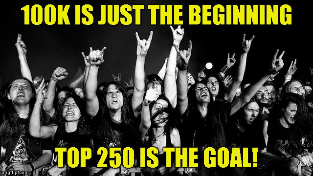 100K IS JUST THE BEGINNING TOP 250 IS THE GOAL! | made w/ Imgflip meme maker