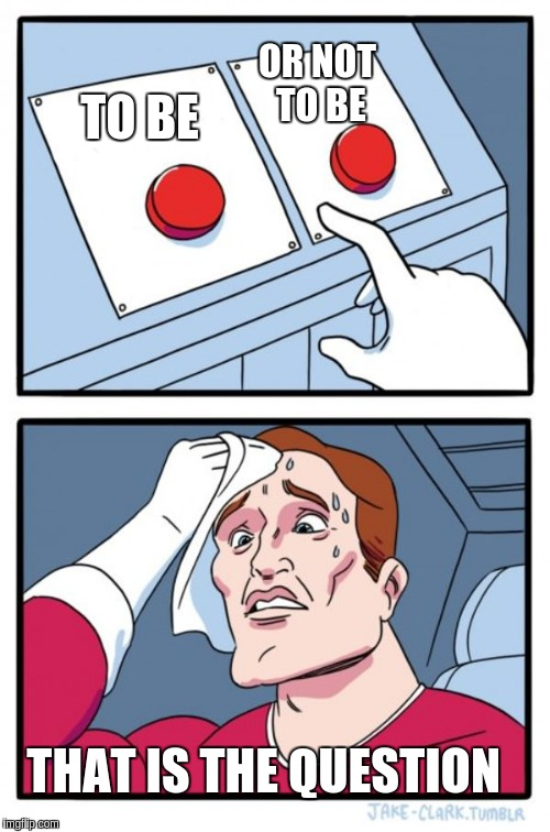 Two Buttons Meme | TO BE OR NOT TO BE THAT IS THE QUESTION | image tagged in memes,two buttons | made w/ Imgflip meme maker