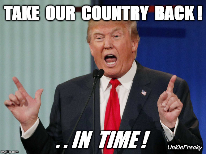 Donald Trump | TAKE  OUR  COUNTRY  BACK ! UnKleFreaky . . IN  TIME ! | image tagged in donald trump | made w/ Imgflip meme maker