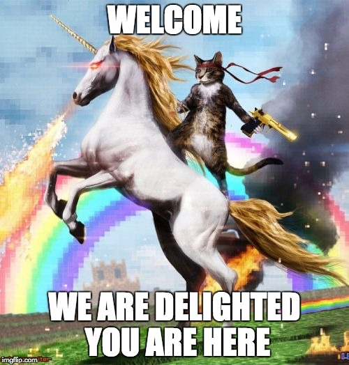 Welcome To The Internets Meme | WELCOME WE ARE DELIGHTED YOU ARE HERE | image tagged in memes,welcome to the internets | made w/ Imgflip meme maker