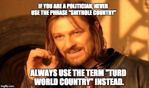 "One Does Not Simply Meme | IF YOU ARE A POLITICIAN, NEVER USE THE PHRASE ""SH!THOLE COUNTRY"" ALWAYS USE THE TERM ""TURD WORLD COUNTRY"" INSTEAD. 