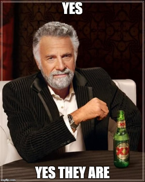 The Most Interesting Man In The World Meme | YES YES THEY ARE | image tagged in memes,the most interesting man in the world | made w/ Imgflip meme maker
