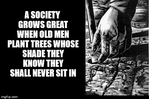 Be Like These Old Men | A SOCIETY GROWS GREAT WHEN OLD MEN PLANT TREES WHOSE SHADE THEY KNOW THEY SHALL NEVER SIT IN | image tagged in plant,trees,shade,sit,environment,forrest | made w/ Imgflip meme maker