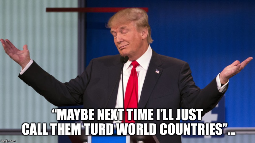 "Shitholes | ""MAYBE NEXT TIME I'LL JUST CALL THEM TURD WORLD COUNTRIES""... 