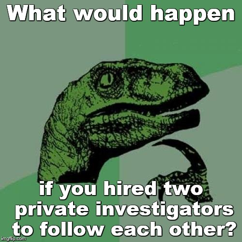 Philosoraptor Meme | What would happen if you hired two private investigators to follow each other? | image tagged in memes,philosoraptor | made w/ Imgflip meme maker