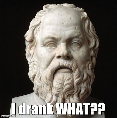 Socrates (the original): little-known quote | I drank WHAT?? | image tagged in memes,socrates,quotes,funny quotes | made w/ Imgflip meme maker