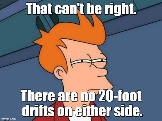 Futurama Fry Meme | That can't be right. There are no 20-foot drifts on either side. | image tagged in memes,futurama fry | made w/ Imgflip meme maker