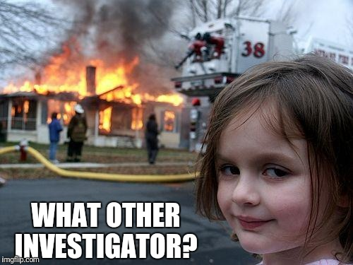 Disaster Girl Meme | WHAT OTHER INVESTIGATOR? | image tagged in memes,disaster girl | made w/ Imgflip meme maker