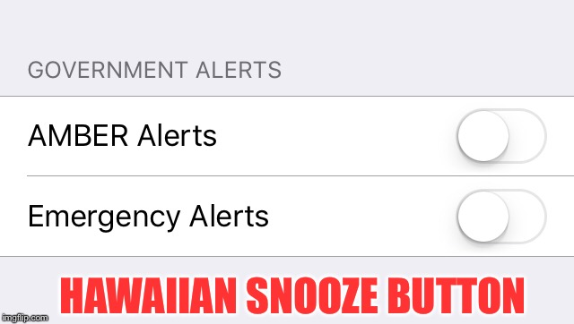 Hawaii snooze button |  HAWAIIAN SNOOZE BUTTON | image tagged in cell phone,hawaii,missle,government | made w/ Imgflip meme maker