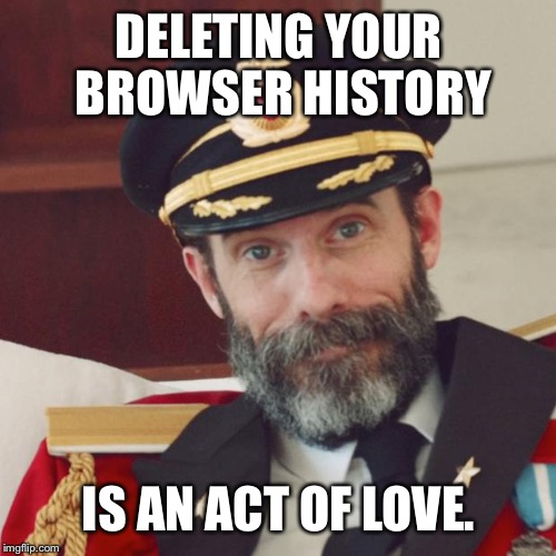 Captain Obvious | DELETING YOUR BROWSER HISTORY IS AN ACT OF LOVE. | image tagged in captain obvious | made w/ Imgflip meme maker
