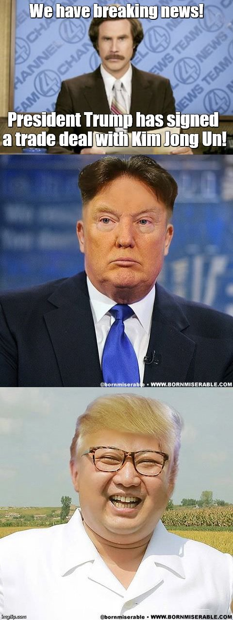 Trump and Kim | We have breaking news! President Trump has signed a trade deal with Kim Jong Un! | image tagged in memes,donald trump,donald trump hair,kim jong un | made w/ Imgflip meme maker