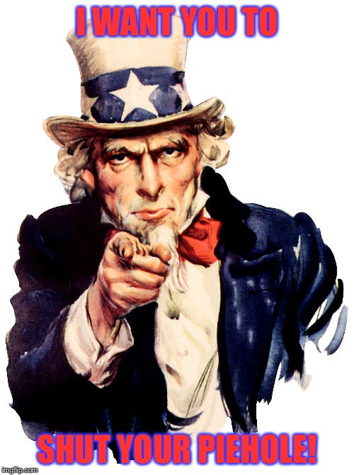 I Want You To Shut Your Piehole! | I WANT YOU TO SHUT YOUR PIEHOLE! | image tagged in uncle sam pointing finger,memes,funny,stern | made w/ Imgflip meme maker