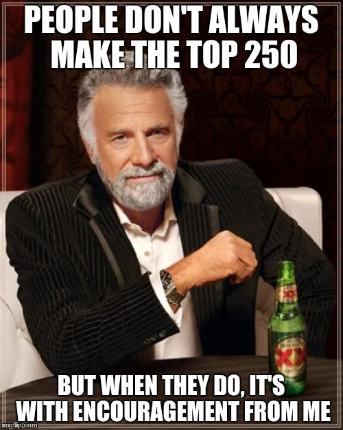 The Most Interesting Man In The World Meme | PEOPLE DON'T ALWAYS MAKE THE TOP 250 BUT WHEN THEY DO, IT'S WITH ENCOURAGEMENT FROM ME | image tagged in memes,the most interesting man in the world | made w/ Imgflip meme maker