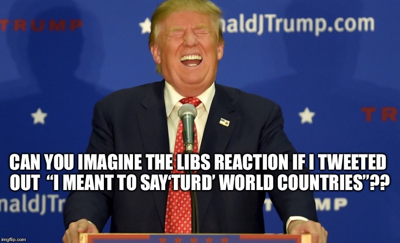 "CAN YOU IMAGINE THE LIBS REACTION IF I TWEETED OUT  ""I MEANT TO SAY'TURD' WORLD COUNTRIES""?? 