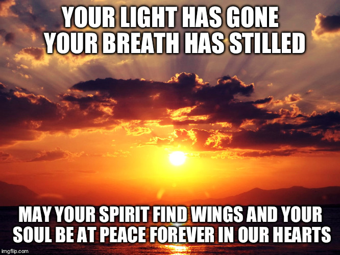 Grief | YOUR LIGHT HAS GONE  YOUR BREATH HAS STILLED MAY YOUR SPIRIT FIND WINGS AND YOUR SOUL BE AT PEACE FOREVER IN OUR HEARTS | image tagged in grief | made w/ Imgflip meme maker