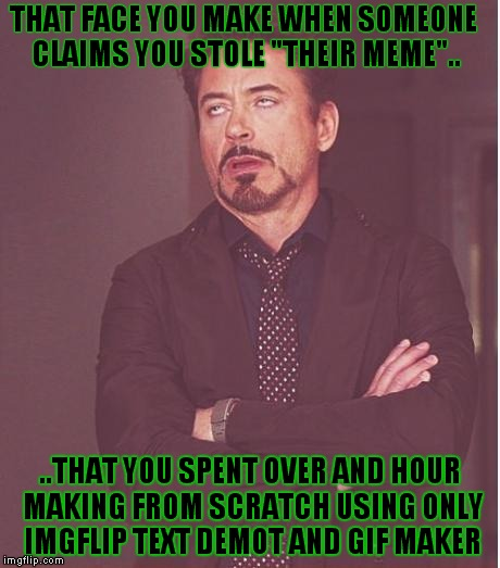 "Face You Make Robert Downey Jr Meme | THAT FACE YOU MAKE WHEN SOMEONE CLAIMS YOU STOLE ""THEIR MEME"".. ..THAT YOU SPENT OVER AND HOUR MAKING FROM SCRATCH USING ONLY IMGFLIP TEXT D 