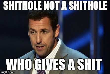 I smell burning toast | SHITHOLE NOT A SHITHOLE WHO GIVES A SHIT | image tagged in memes,shithole,adam sandler,donald trump,shit,fuck twitter | made w/ Imgflip meme maker