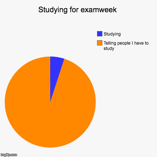 Studying for EXAMS be like | Studying for examweek | Telling people I have to study, Studying | image tagged in funny,pie charts,lol,exams | made w/ Imgflip chart maker
