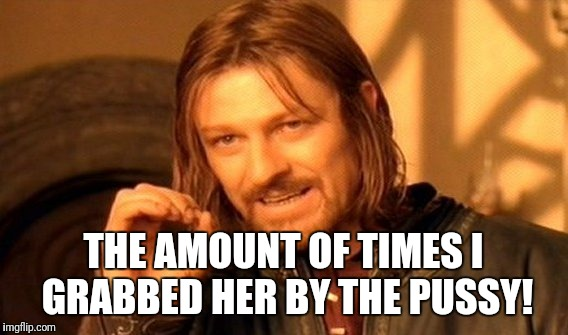 One Does Not Simply Meme | THE AMOUNT OF TIMES I GRABBED HER BY THE PUSSY! | image tagged in memes,one does not simply | made w/ Imgflip meme maker