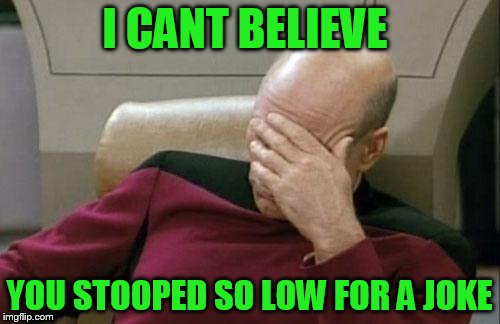 Captain Picard Facepalm Meme | I CANT BELIEVE YOU STOOPED SO LOW FOR A JOKE | image tagged in memes,captain picard facepalm | made w/ Imgflip meme maker