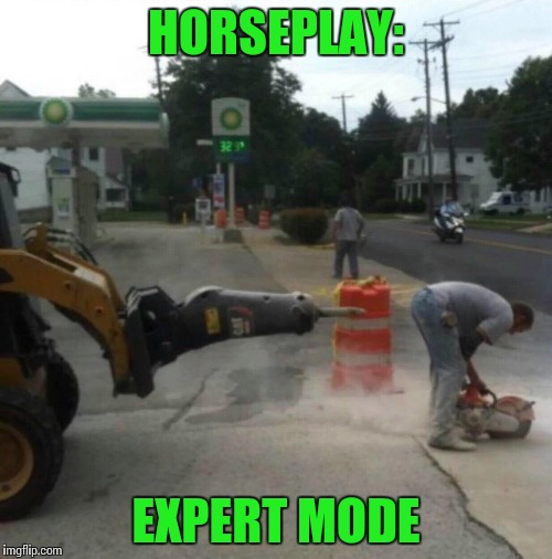 It's as dangerous as you make it to be | HORSEPLAY: EXPERT MODE | image tagged in horseplay,pipe_picasso,prank | made w/ Imgflip meme maker